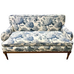 Antique Blue and White Upholstered Loveseat Settee Sofa