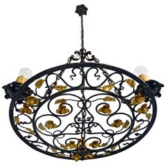 French Art Nouveau, Art Deco Round Gilt Forged Scrolled Iron Chandelier, Pendant