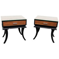 Pair of Glass Top End Tables in the Manner of James Mont