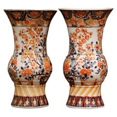 Pair of Early 20th Century Japanese Painted and Gilt Porcelain Imari Vases