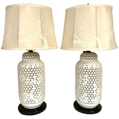 Pair of White Blanc de Chine Reticulated Porcelain Lamps