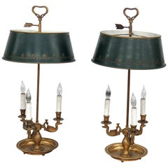 Pair of Empire Style 3 Arm Bouillotte Lamps
