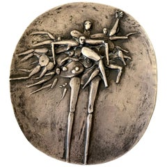 Robert Hansen 1960s Sterling Silver Abstract Figural Bas Relief Sculpture Plaque