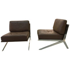 Pair of De Sede DS-60 Armless Chairs Brown Leather and Polished Stainless Steel