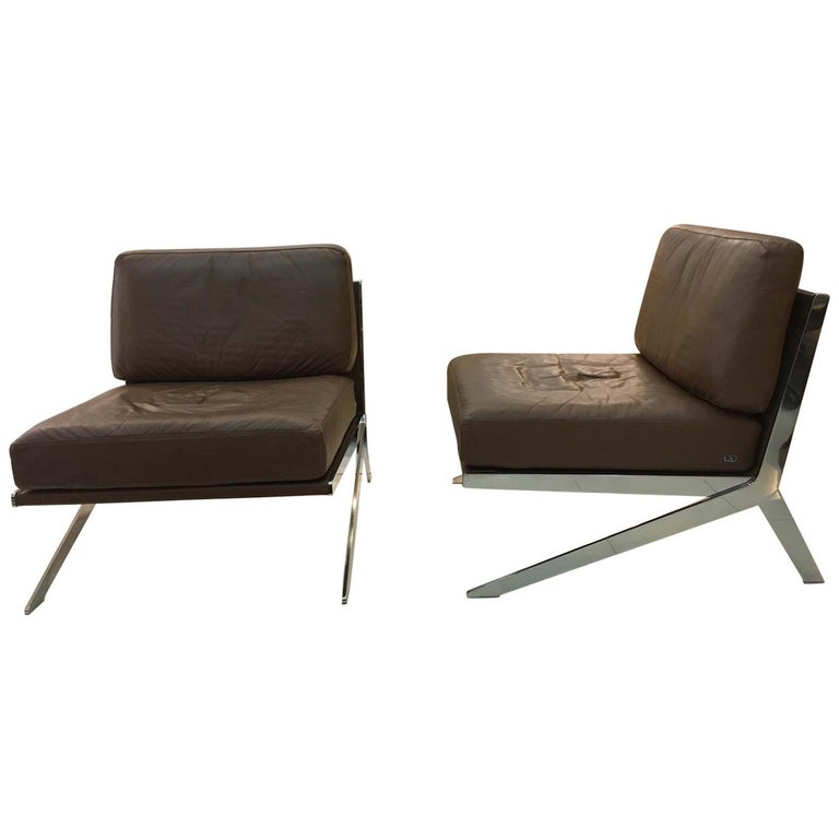 Pair of De Sede DS-60 Armless Chairs Brown Leather and Polished Stainless Steel For Sale
