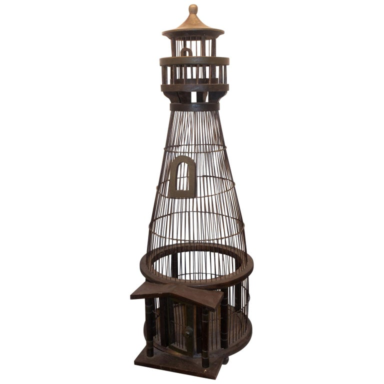 Large 1950s Lighthouse Birdcage For Sale