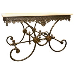 Handmade Estate French Wrought Iron and Bronze-Mounted Butcher or Pastry Table