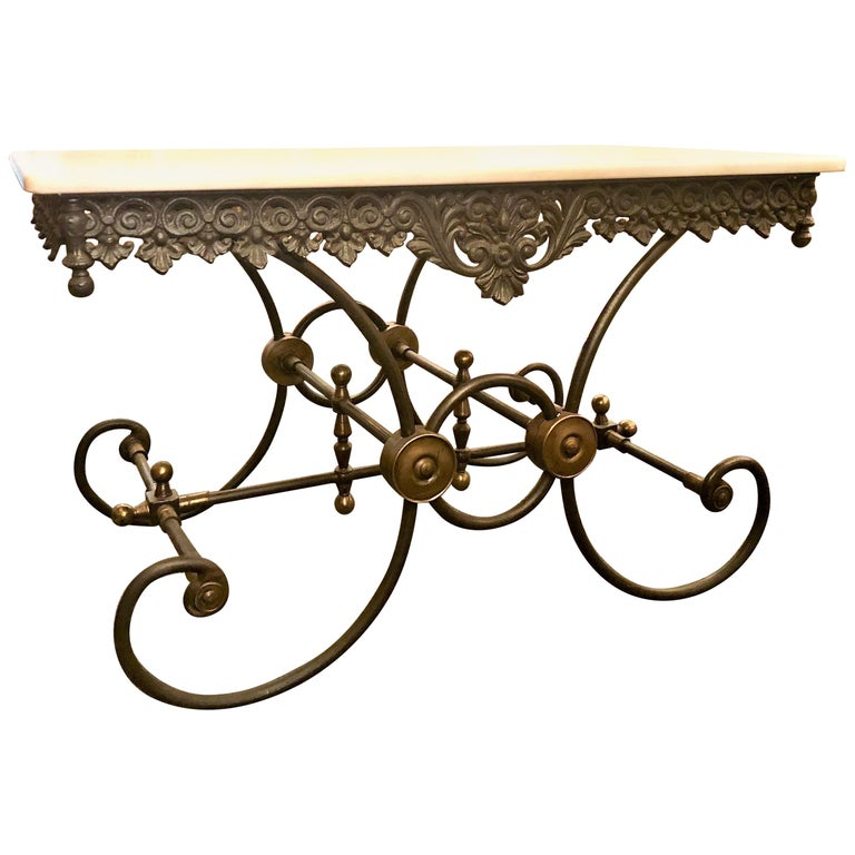 Handmade Estate French Wrought Iron and Bronze-Mounted Butcher or Pastry Table For Sale