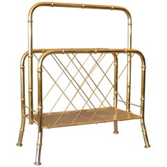Hollywood Regency Faux Brass Bamboo and Cane Magazine Rack