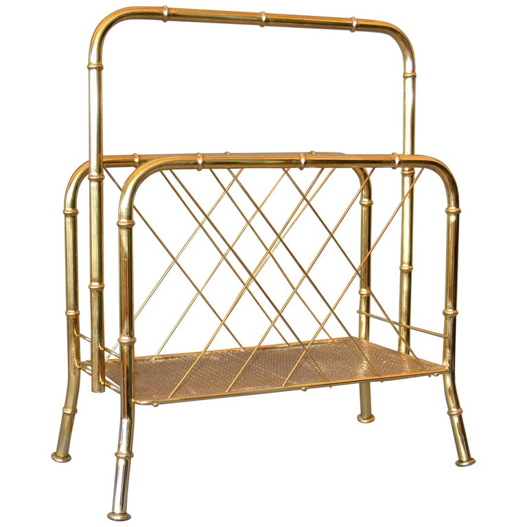 Hollywood Regency Faux Brass Bamboo and Cane Magazine Rack For Sale