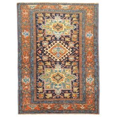 Antique Navy Blue Karadja Heriz Scatter Rug