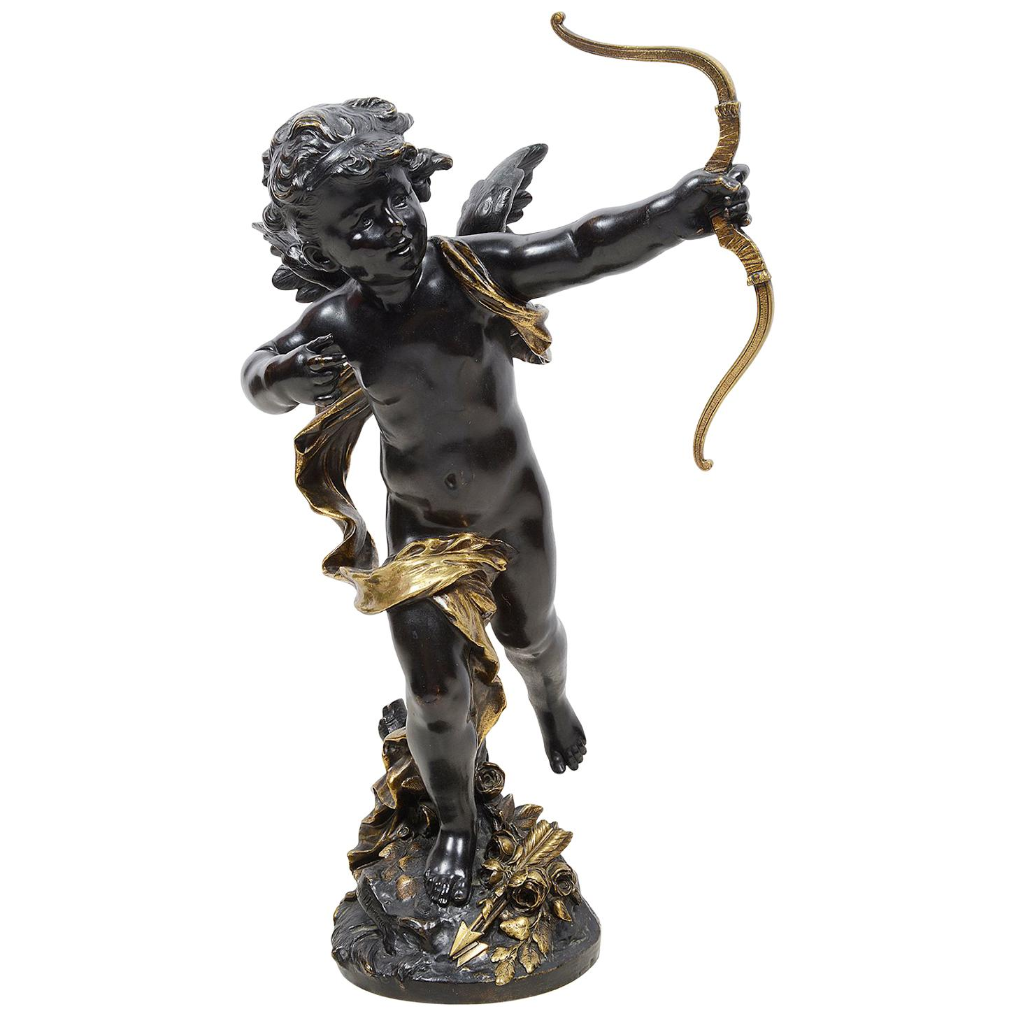Large Bronze Cupid by Aug. Moreau, 19th Century