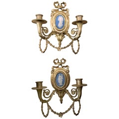 Pair of Antique Wedgwood Plaque and Bronze Wall Lights