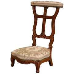 """19th Century French Carved Walnut Prayer Bench or """"Prie-Dieu"""" with Needlepoint"""
