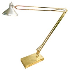 Large Brass Classic Anglepoise Adjustable  Floor Lamp Aluminum Shade