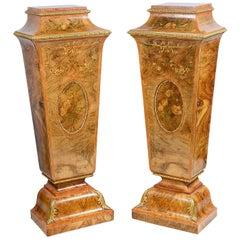Pair of 19th Century Marquetry Pedestals