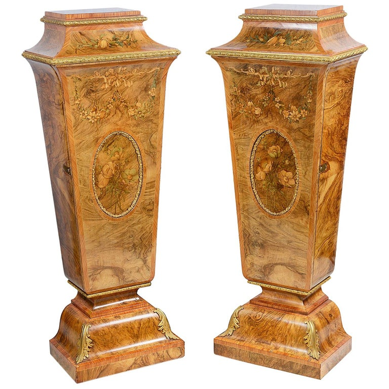 Pair of 19th Century Marquetry Pedestals For Sale