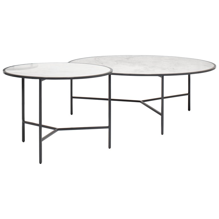 Set of 2 White Carrara Marble Center Tables with Fine, Powder Coated Iron Legs For Sale