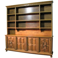 High End Italian Renaissance Style Walnut Cabinet & Shelves by Joseph Milbeck