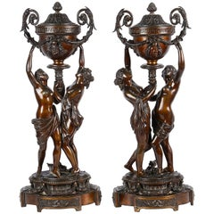 Large Pair of Classical Bronze Statues, 19th Century