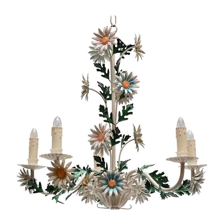 Floraler Kronleuchter aus bemaltem Eisen und Feinblech, Italien, Mitte des 20. Jahrhunderts 1