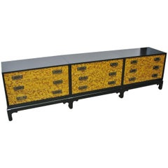 1960s Mid-Century 3-Part Credenza on Base; Painted Faux Tortoiseshell Fronts