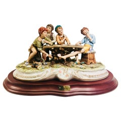 "Capodimonte ""the Cheats"" Fine Italian Museum Quality Porcelain Scene by Cortese"