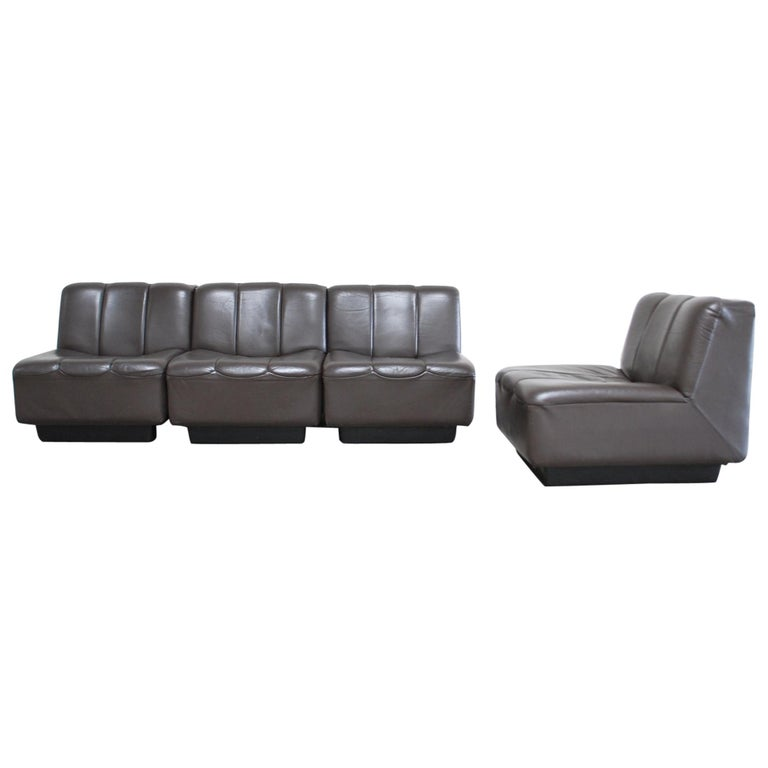 Vintage 1970s Design German Modul Brown Leather Sofa 1