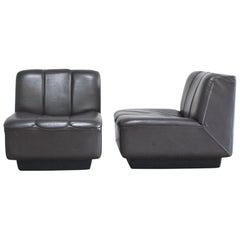 Vintage 1970s Design German 2x Modul Brown Leather Chair