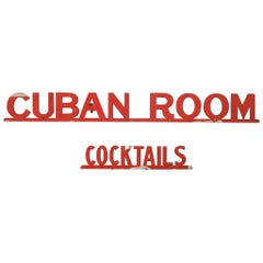 """Cuban Room Cocktails"" San Francisco Club Sign, circa 1920"