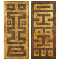 Pair of Midcentury Asian Style Geometric Gilt Panels