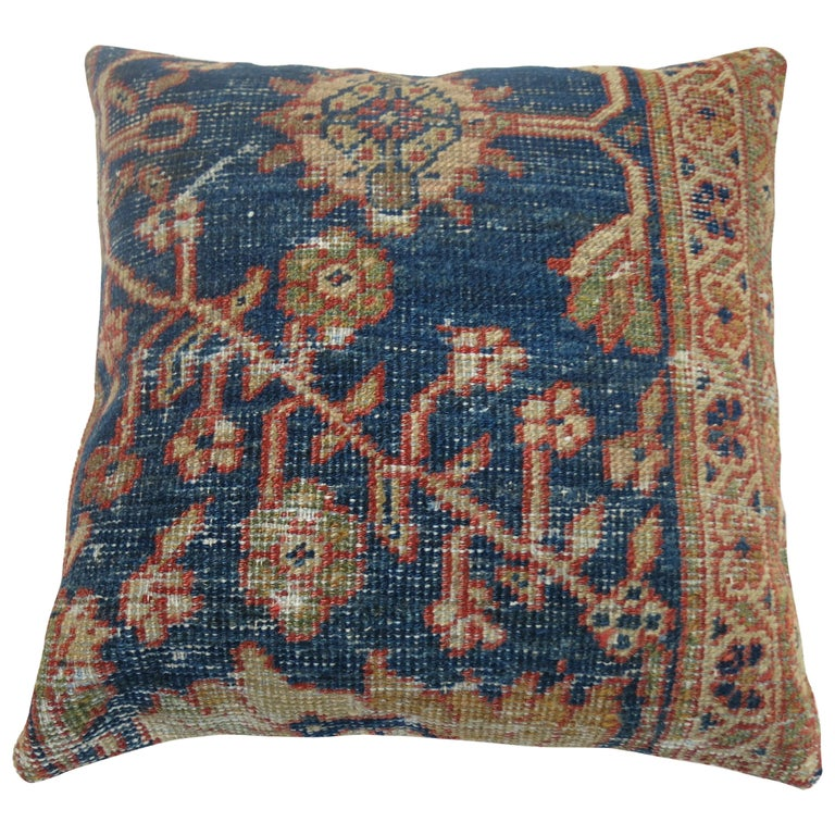 Antique Persian Mahal Rug Pillow For Sale