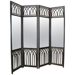 McGuire Furniture Four Panel Bamboo Screen with Mirror