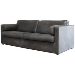 FSM / De Sede Vintage Leather Sofa Anthrazit / Black