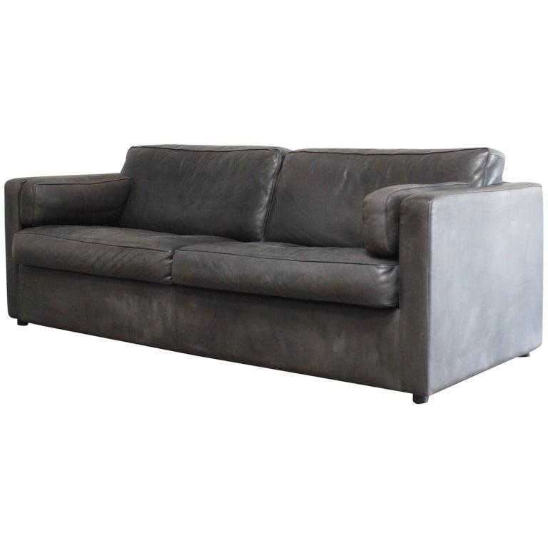 FSM / De Sede Vintage Leather Sofa Anthrazit / Black For Sale