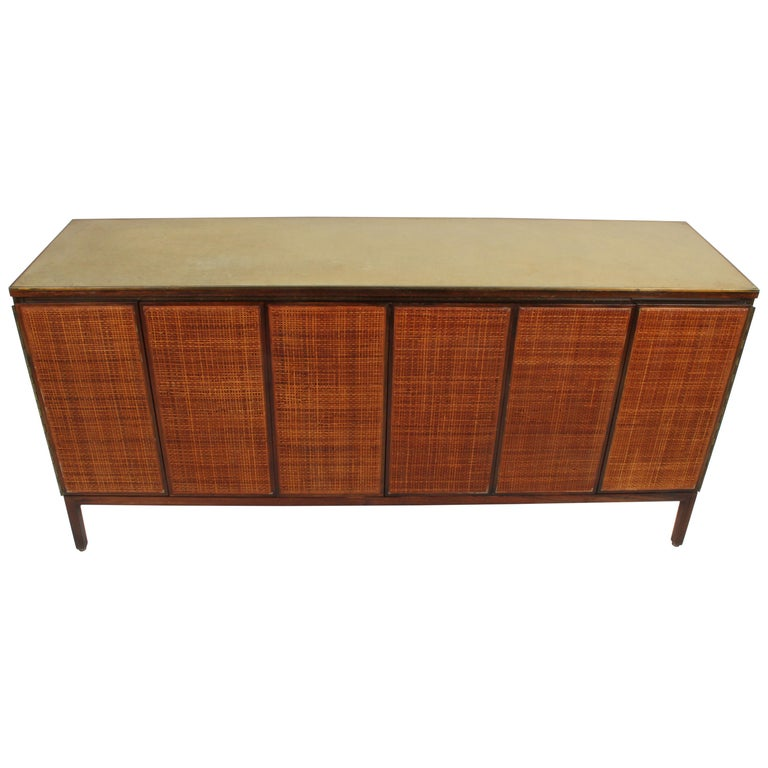 Paul McCobb for Calvin Leather Top and Caned Front Dresser or Sideboard For Sale