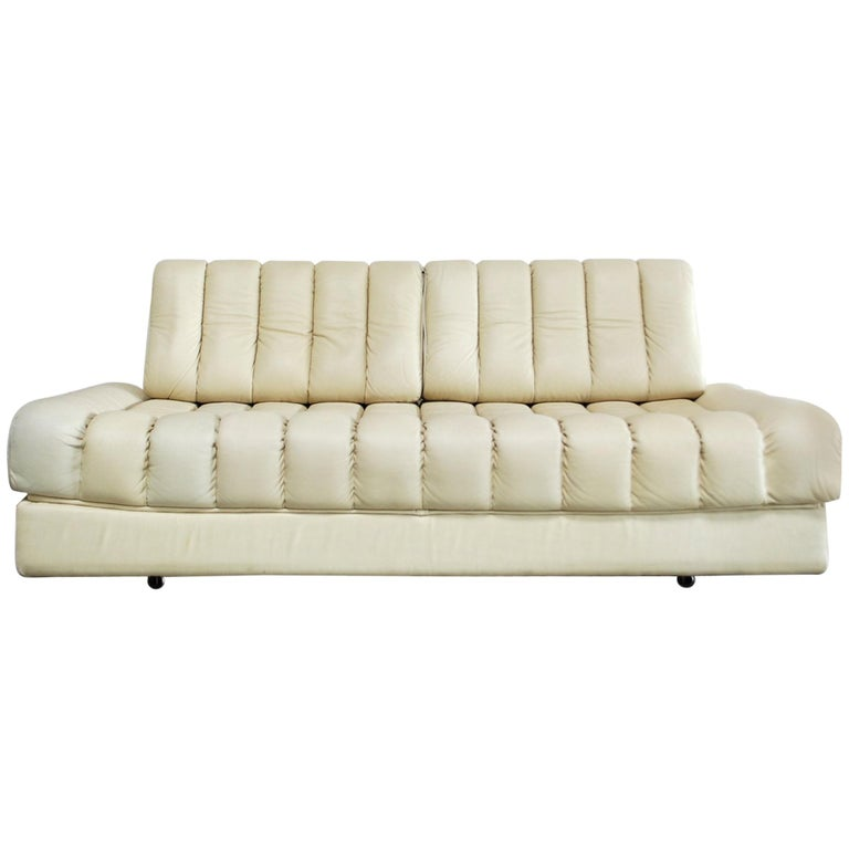 De Sede DS 85 Natural  Daybed Leather Sofa Ecru Crème White For Sale