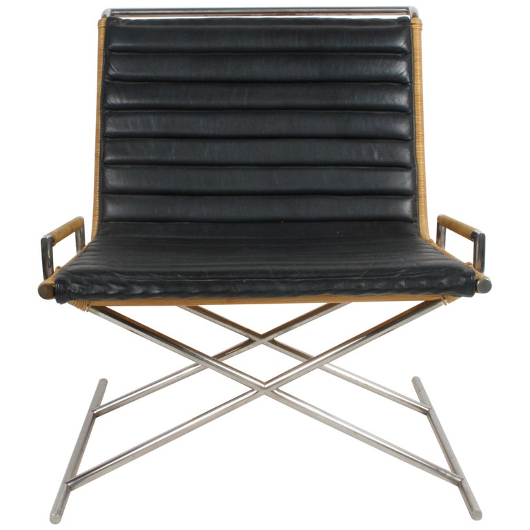 Ward Bennett Sled Chair Rattan and Leather For Sale