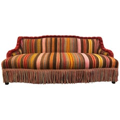 Custom Made Sofa in Vintage Flat-Woven Kilim Rug