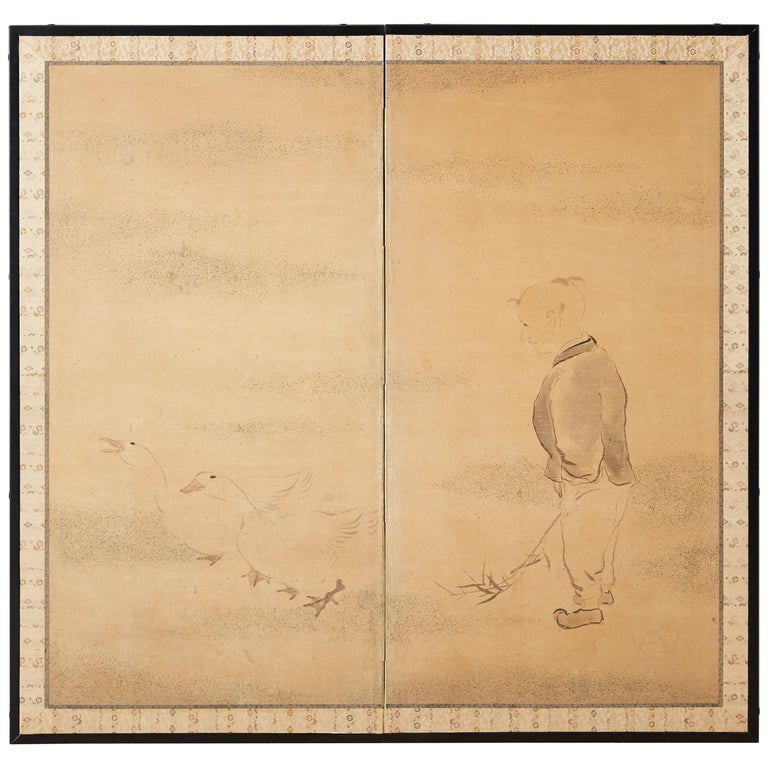 Japanese Two Panel Screen of Child with Geese For Sale