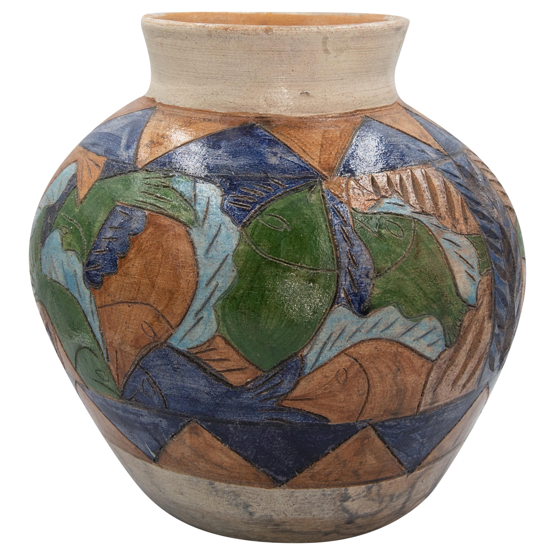 Mexican Antique Dolores Porras Clay Pottery Folk Art Terracotta Fish Vessel Vase