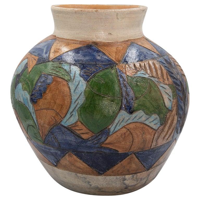 Mexican Antique Dolores Porras Clay Pottery Folk Art Terracotta Fish Vessel Vase For Sale