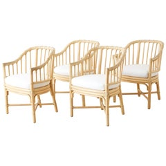 Set of Four McGuire Bamboo Rattan Dining Chairs