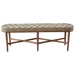 Midcentury Regency Style Faux Bamboo Tufted Bench
