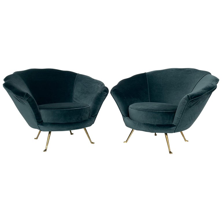 Pair of Scalloped Back Lounge Chairs with Brass Legs 1
