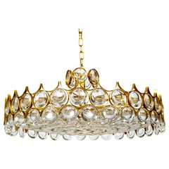 Large Circular Palwa Gilt Brass and Optical Lens Crystal Chandelier