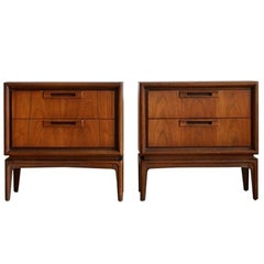 Pair of Mid-Century Modern Walnut Garrison Nightstands