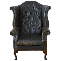 English Chesterfield Tufted Leather Wingback Library Chair