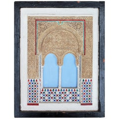 19th Century Granada's Alhambra Palace Framed Stucco Mock-Up