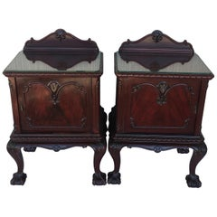 George III Period Walnut Nightstands or Bedsides with Glass Top and Door